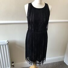 Spotlight Warehouse Black Fringe Lace Dress Size 14 Grunge Biker Chic Blogger UK