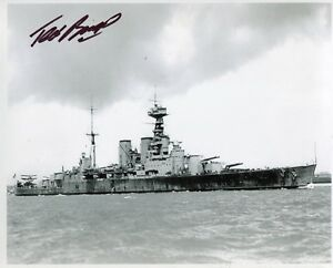 WW2 HMS Hood survivor Ted Briggs signed 8x10 photo WITH PHOTO PROOF! - UACC