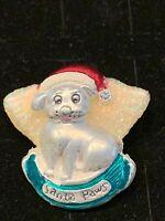 Christmas Brooch Santa Paws Puppy Silver Tone Enamel Rhinestone Gift Xmas
