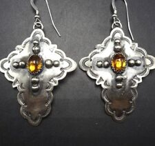 Signed Navajo Hand Stamped Sterling Silver Yellow Citrine Cross Earrings