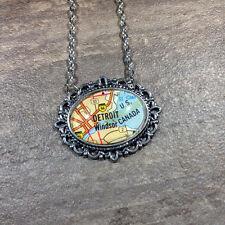 DETROIT MICHIGAN WINDSOR USA CANADA Map Pendant Vintage necklace ATLAS