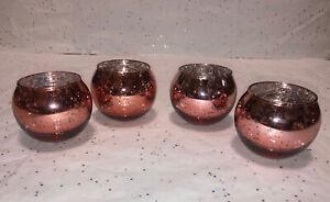 "4 Pc pink rose gold Mercury 2x3"" Glass Votive Tea Light Candle Holder Beautiful"
