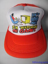Vintage 1980s DON'T BOTHER ME! I'M WATCHING THE GAME Man Humor SNAPBACK HAT CAP