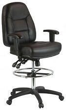 Harwick Black Leather Drafting Chair (model 100kl) With