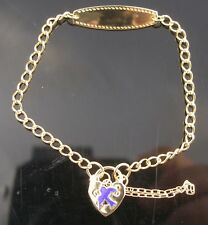 Brand New Solid Sterling Silver Gold Plated Baby Bracelet with Id and Padlock