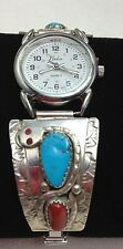 Sterling Silver Ladies Watch tip turquoise coral watch new battery Effie C snake