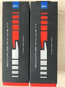 Pair of Schwalbe Pro One TT Tire - 700 x 25, Tubeless, Folding, Black/Tan