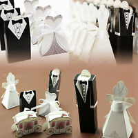 100/200Pcs Tuxedo Dress Groom Bridal Wedding Party Favor Gift Ribbon Candy Boxes