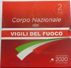 """ITALIA ITALIE ITALY 2 EURO 2020  PROOF """"Corpo nazionale VIGILI DEL FUOCO """""""