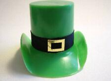 "4 Small 2-1/4"" Vintage St. Patrick's Day Plastic Leprechaun Hats Decorations"