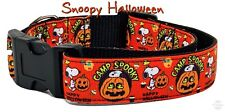 "Snoopy Halloween dog collar handmade adjustable buckle 1"" or 5/8"" wide or leash"