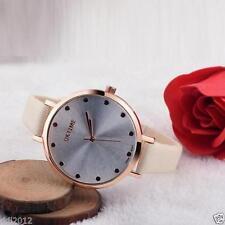 Ladies Fashion Rose Gold Silver Dial OKTIME Quartz Slim Cream Band Wrist Watch.