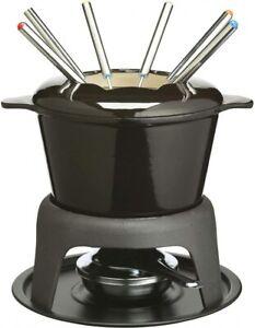 MasterClass Cast Iron Meat / Cheese / Chocolate Fondue Set, 21 x 18 cm - Black -