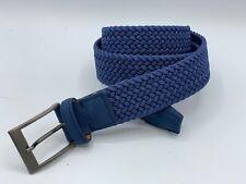 PAOLO DA PONTE Mens Blue Nylon Woven Suede Golf Italian Belt 36 40 NWOT $185