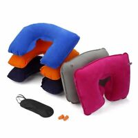 Tourists Neck Pillow Inflatable Eye Mask Air Cushion Travel Set Rest Ear Plug