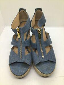 New Michael Kors Damita Espadrille Wedge Sandal platform zip washed Denim blue