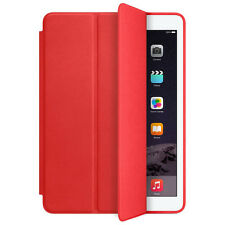For Apple iPad Air 2 Genuine Leather Smart Case Cover Slim Wake Protector Red