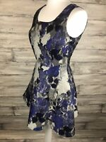 HENRY HOLLAND • Blue And Grey Fit And Flare Occasion Dress • Size 8