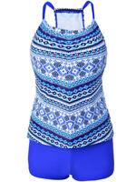 Womens 2 Piece Tankini Bikini Set Push-up Padded Boyshorts Swimwear Plus Size