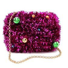 KOTUR Margo Jingle Tinsel Bells Christmas Drop Chain Pink Magenta Purse Clutch