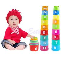 1 Set Baby Children Kids Educational Toy Figures Letters Folding Cup Pagoda Q