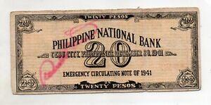 PHILIPPINES Cebu Emergency  S218 20 Pesos KADAVERO CS in VILLABA Leyte 1942 RARE