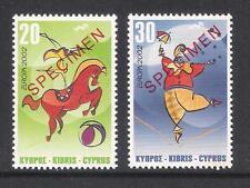 CYPRUS 2002 EUROPA CIRCUS CLOWN HORSE SET Opt. SPECIMEN MNH