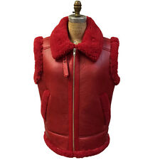 Jakewood Red Sheepskin Shearling Vest, Two Pockets, Size L