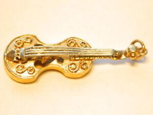 "Lovely 1 2/3""  14K Solid Gold Violin Pendant  Charm 5.2 Grams"