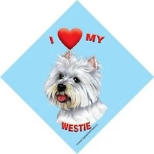 I love (heart) My Westie Hanging Sign with Suction Cup In Color Made USA