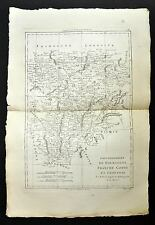 BOURGOGNE, FRANCHE-COMTE carte geographique ancienne, old antique map BONNE 1787