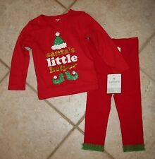 NWT Carters Bonnie Baby Girls 18 Mos Santa's Little Helper Christmas Top Outfit