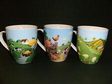3 Kaffeebecher Schafe Kühe Schweine Tasse Tassen Kaffeetassen Porzellan neu