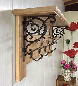 Vintage Style Coat Rack With Shelf Solid Oak Wood Country Barn Ceramic Hooks