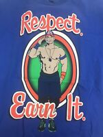 WWE Authentic John Cena Respect Earn It Never Give Up Blue Graphic T-Shirt Sz M