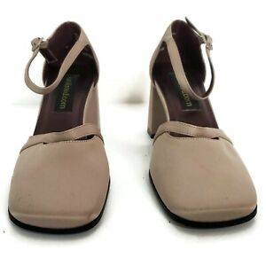 Unlisted.com Womens Ankle Strap Size 6.5M Taupe Chunky Heel 3 in Square Toe