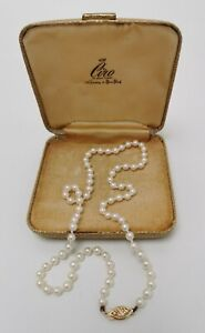"""Vintage Ciro 14k 585 Solid Gold Clasped Sapphire Cultured Pearl 16½"""" Necklace"""