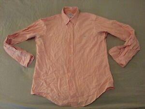Mens Brooks Brothers Dress Shirt L Large Orange Cotton Long Button