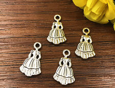 8pcs Skirt  Tibetan Silver Bead charms Pendants DIY jewelry 20x11mm J147