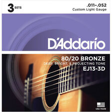 3 Sets D'Addario EJ13-3D Custom Light Acoustic Guitar Strings 80/20 Bronze 11-52