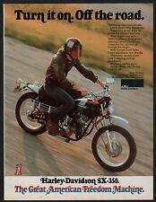 1973 HARLEY-DAVIDSON SX-350 Motorcycle Vintage PRINT AD