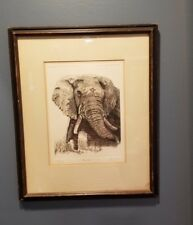 """Vintage '74 Drypoint Etching """"Rogue"""" by Barry Euren Limited Edition 19/250 w COA"""