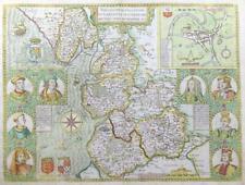 1676 Original Antique Map - LANCASTER Lancashire by John Speed Bassett Chiswell