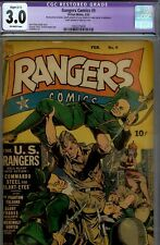 Rangers  #9- CGC 3.0 (restored)- RARE WWII COMIC- 1943 FICTION HOUSE COMIC