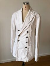 Polo Ralph Lauren Double Breasted Blazer White Cotton Twill Metal Button Vintage