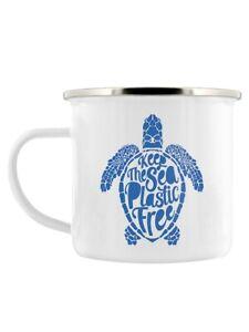 Enamel Mug Keep The Sea Plastic Free White