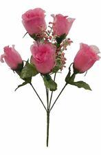 5 Roses Pink Mauve Wedding Centerpieces Bridal Bouquet Silk Flowers Sheer Petals