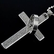 Cool Unisex Men's Charm Punk Stainless Steel Jesus Cross Ring Pendant Necklace