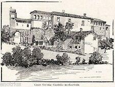 Casei Gerola: Castello. Oltrepò Pavese. Pavia. Stampa Antica + Passepartout.1901