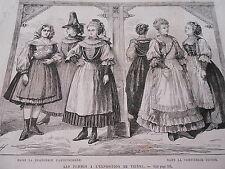 Gravure 1873 - Vienne Femmes à l'expo Brasserie Carinthienne Confiserie Suisse